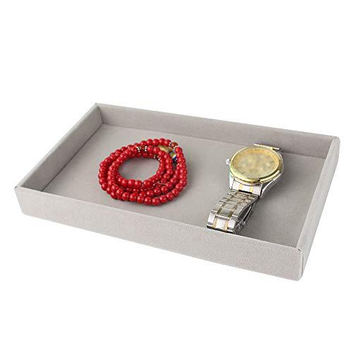 Bandeja de almacenamiento de joyas de franela gris – Organizador de joyas, para collar, pendientes, anillos, brazaletes, regalo vintage