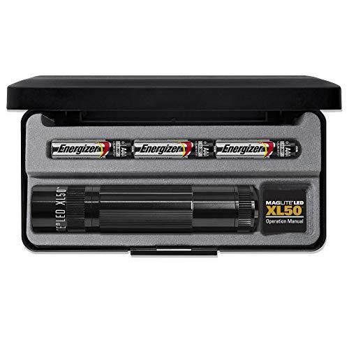 Mag-Lite LED Taschenlampe XL50, 200 Lumen, schwarz, 12 cm mit 3 Modi und Endkappenschalter, XL50-S3017