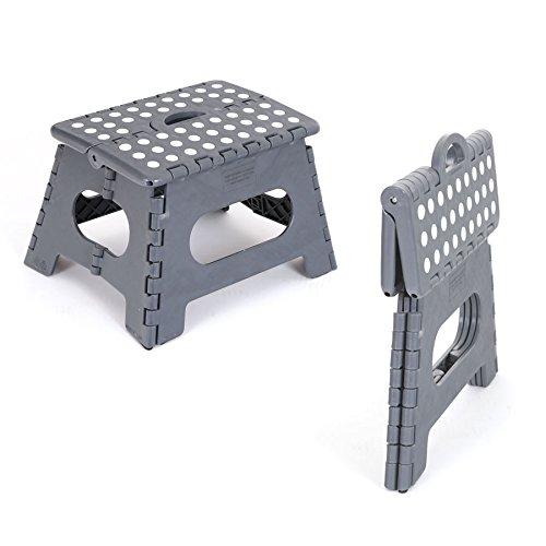 designfun KLAPPHOCKER TRITTHILFE KLAPPTRITT AUS Kunststoff 31 x 22 x 22 cm - GRAU
