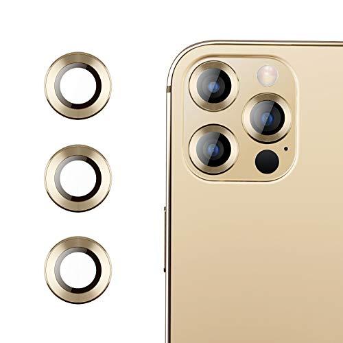 RIWNNI Protector Camara Compatible con iPhone 12 Pro Max [3 Piezas], Alta Definicion 9H Anti-Rasgunos Vidrio Templado Camara Trasera Lente Protector de Pantalla para iPhone 12 Pro Max - Oro