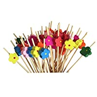 MIYU 木製の食欲をそそるつまようじビーズフルーツ木製つまようじつまようじ (Colore : Flower shape)