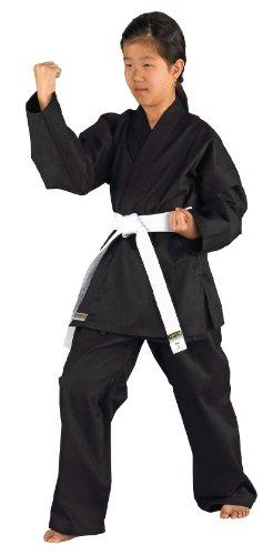 Kimono karate negro Shadow algodon y poliester incluye pantalones y cinturon blanco