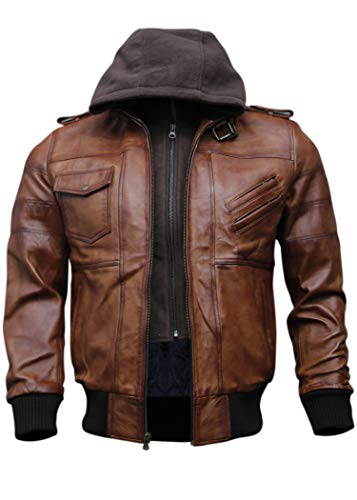 Mens Genuine Black Hooded Bomber Leather Jacket | Real Lambskin Waxed Brown Leather Jackets for Men with Removable Hood (Wax Brown, Medium (Body Chest 41' to 42'))