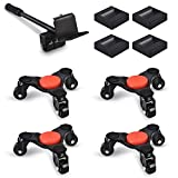 Ronlap 6-Inch Steel Tri-Dolly, 3 Wheels Furniture Mover's Dolly with Lifer, Heavy Furniture Moving Rollers Leg Dolly, Moving Triangle Dolly Swivel Caster, 130Lbs Capacity Each Pack, 4 Pack, Black