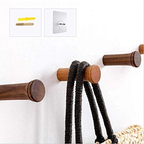 SMLHome 5個セット 壁掛け木製フック 強力粘着フック ネジ付き ウォールフック コートラック 帽子掛け タオルハンガー コート、帽子、ローブ、タオル、寝室、クローゼット、バスルーム、玄関用の?力フック (チェリーウッド-8cm, 5個)
