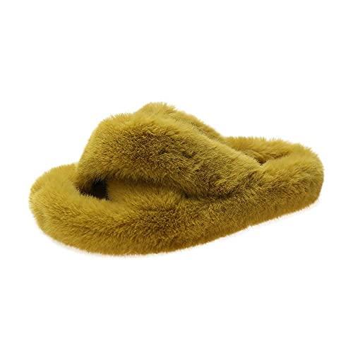 xinghui Chanclas de Mujer Zapatillas de Piel Usan pestañas Cruzadas-Amarillo_35