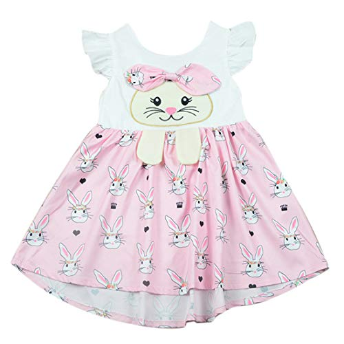 Toddler Baby Girls Easter Dresses Flutter Sleeve Rabbit Bunny Print Dress Outfit Summer Clothes (Pink/White, 4-5 Years)