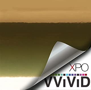 VViViD Gloss Chrome Gold Vinyl Wrap Adhesive Film Roll Air Release DIY Decal Sheet (16 Inch x 60 Inch)