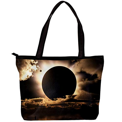 Woman Laptop Tote Bag USB Teacher Bag Large Work Bag Purse Fits Tablet Book Notebook Solar Eclipse 11.8x4.1x15.4in
