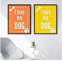 """キャンバスウォールアート白い手紙私は私の犬を愛しています絵の絵画ポスターとプリントリビングルームオフィスの家の装飾23.6"""" x31.4""""(60x80cm)フレームレス"""
