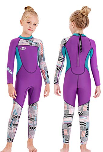 Gogokids Girls Wetsuit Kids Thermal Swimsuit - 2.5mm Neoprene Rash Guard Children One Piece Swimwear, All in One Sunsuit Sun Protection UV 50+ Diving Snorkelling Suit, Purple L