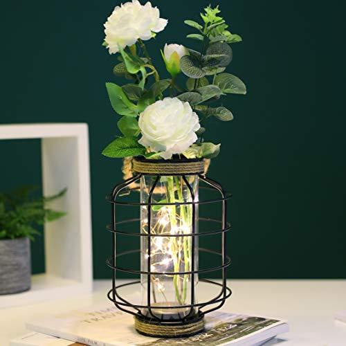 JHY DESIGN Linternas decorativas Linternas de vela de acero inoxidable de 24 cm de alto con vidrio templado para exteriores, fiestas y bodas Lámparas colgantes de estilo vintage. (Plata)
