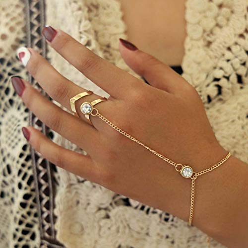 Acedre Boho Crystal Bracelets Gold Hand Harness Bangle Finger Rings Hand Accessories for Women and Girls