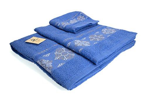 I LIKE Juego DE 3 Toallas 100% ALGODÓN - 1 Toalla de bidé (30x45 cm) 1 Toalla de Lavabo (50x90 cm) 1 Toalla de baño (100x140 cm) 380 gr Ref. Nieve Color Azul