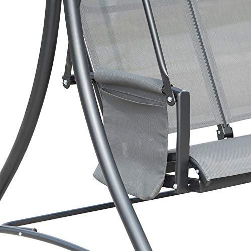 Outsunny 3-Sitzer Hollywoodschaukel, Gartenschaukel mit Sonnendach, Schaukelbank mit Ablage, Aluminium, Grau, 196 x 128 x 172 cm - 4