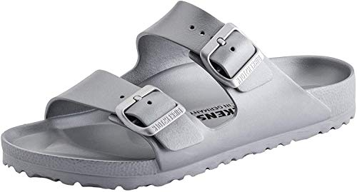 Birkenstock Unisex Arizona Essentials EVA Metallic Silver Sandals - 38 Narrow EU
