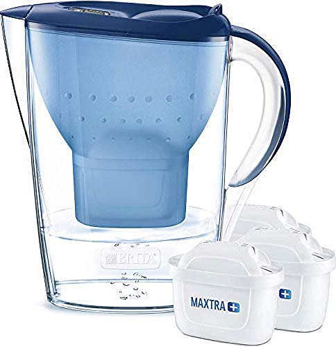 BRITA Marella Water Filter Starter Pack with 3 MAXTRA+ Cartridges, Water Filter that Helps with the Reduction of Limescale and Chlorine, Blue MAXTRA 6 pack water filters
