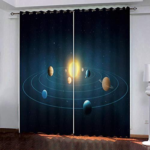 SUZIHUA Verdunkelungsvorhang 3D Planet Massiver Vorhang Isolierung Fensterdekoration Öse Wohnzimmer Schlafzimmer...