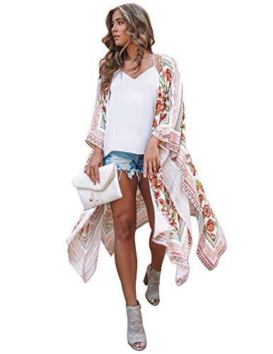 Zexxxy Ropa de Abrigo Larga y Casual para Mujer Vintage Flowy Estampado de Flores Cardigan de Playa Amarillo Grande
