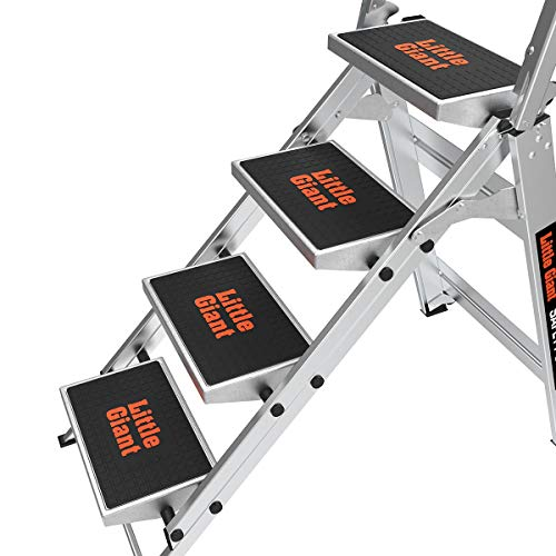 Little Giant Ladder Systems 10410BA Safety Step Ladder Four Step with Bar, 2 x 11-Inch