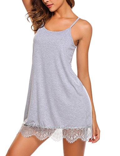 ADOME Sexy Unterkleid Damen Spitze Kurz Unterröcke Negligee schlüpfen Kleid Lingerie Babydolls Pyjama Dessous Set Nachthemd Minikleid Elastisch mit G-String (XX-Large, Hellgrau)