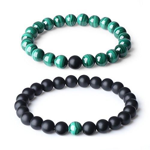 coai Partner Armband Distance Bracelets aus Matt Onyx und Malachit