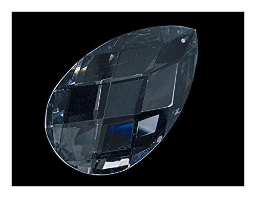 2 pcs Kronleuchter-Kristall-Anhänger - Tropfen facettiert 60x30x18 mm, Kristall Durchsichtig, Tschechisches Glas