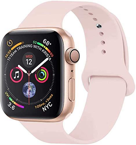 Vikatech - Cinturino di ricambio compatibile con Apple Watch Strap 44 mm, 42 mm, 40 mm, 38 mm, in morbido silicone, per iWatch Series 5/4/3/2/1 (38 mm/40 mm S/M, PinkSand)