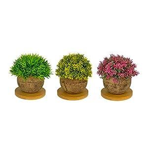 Sanrey Artificial Plants Mini Plastic Shrub Foliage with Unique Wood Plant Pot and Multi Purpose Mug Coasters for Home Decor, Kitchen Decor, and Office Decor (Set of 3)