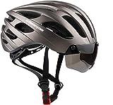 Shinmax Casco Bicicleta Adulto,Casco Bici con USB luz Pegatina Luminosa Certificado CE,Casco Bicicleta Hombre Mujer Casco Bicicleta conVisera Magnética Casco Bici para Montaña Ciclismo 57 62CM(RC-049)