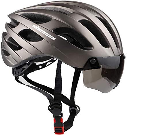 Shinmax Casco Bici Uomo Donna, Casco Bici MTB con USB Luce Protettiva UV Magnetica Visiera Adesivo Luminoso, Unisex Regolabile Casco Ciclismo per Strada Skateboard Certificato CE 57-62CM (RC-049)