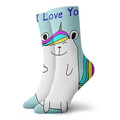 BJAMAJ Calcetines Unisex con diseño de Oso y Unicornio Que Dice I Love You, Calcetines de poliéster para Adultos, Calcetines de algodón
