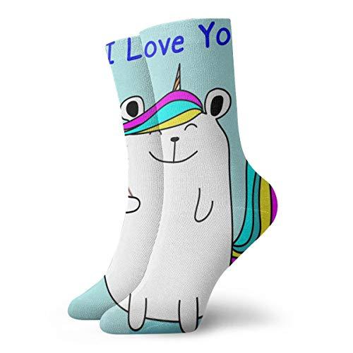 BJAMAJ Calcetines Unisex con diseño de Oso y Unicornio Que Dice I Love You, Calcetines de...