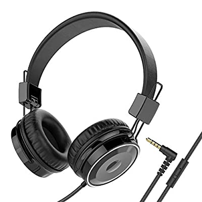 Baseman Wired Foldable Headphones with Mic, Stereo Heavy Bass Over Ear Headset for iPhone Cell Phones Laptop Tablet Mp4 Mp3 Macbook PC (Black) from BASEMAN