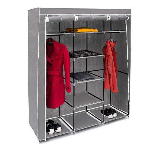 Relaxdays 10019122  Grande armoire pliante VALENTIN 9 compartiments Penderie Tringles étagères (H x l x P 173 x 148 x...