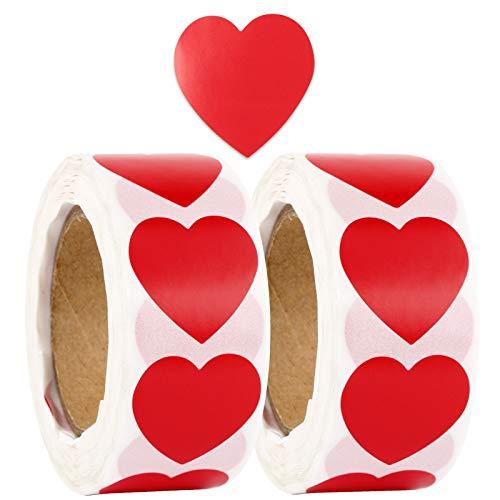 1000pcs 2,5cm Pegatinas Corazones Rojos Papel Etiquetas Adhesivas Stickers Decoración Cajas Bolsas Regalos Tarjetas Sobres Fiesta San Valentín Navidad