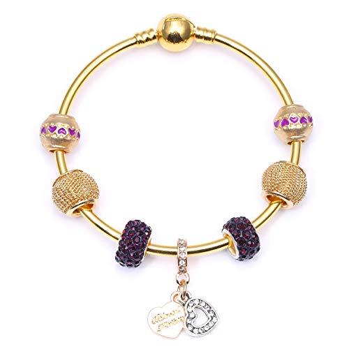 Clásico Forever Love Corazón Charm Colgantes Color Oro Cadena de Serpiente Pulsera DIY Moda Joyería Regalo Para Mujeres C01 19cm