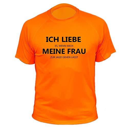 Jagd T Shirt, Ich Liebe es wenn Mich Meine Frau zur Jagd gehen lässt (20170, orange, 7a)