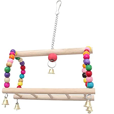 Besimple Pet Parrot Hanging Swing Wood Ladder Climbing Toy with Hammock for Small Animal Bird Ferret Parrot Rat Hamster