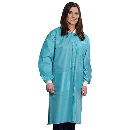 ValuMax 3560TEXL Easy Breathe Cool and Strong, No-Wrinkle, Professional Disposable SMS Knee Length Lab Coat, Teal, X-Large, Pack of 10