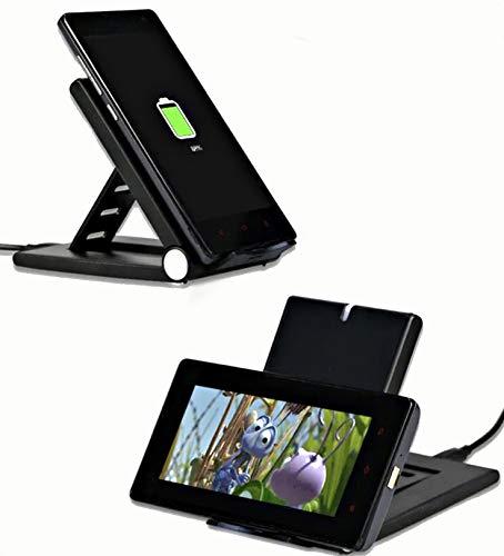 Qi ワイヤレス充電器 スマホスタンド 10W急速 卓上 折りたたみ式 ポケット バッグ 持ち歩き 収納可能 iPhone Android 縦置き 横置き おくだけ充電 iPhone android 本体用充電ケーブル付き