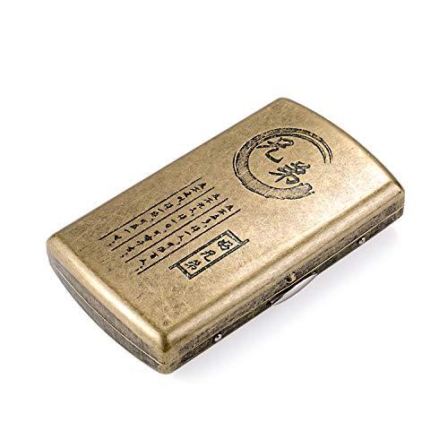 Retro Metall Zigarettenetui klein, Zigarettenbox für Damen Herren antik Zigarettenetui mit Gravur, antik Zigaretten Kasten Zigarettencase Zigarettenhüllefür 12 Zigaretten(xiongdi)