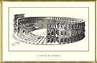 ポスター ヴェローナ larena di Verona 額装品 アルミ製ベーシックフレーム(ゴールド)