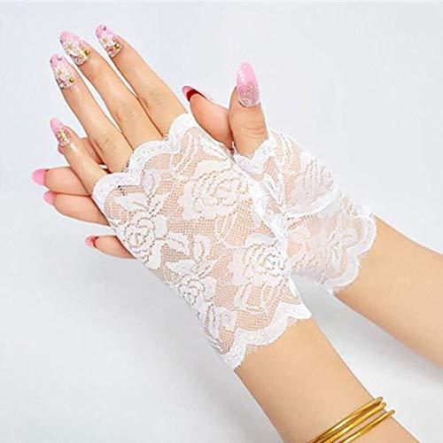 IAMZHL Sailor dance long fingerless female sexy lace gloves ladies half finger fishnet gloves heated net gloves mittens - White A