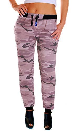 RMK Damen Jogginghose mit Bündchen Trainingshose Uni Schlafanzug-Hose Gym H.03 (Camouflage Wüste, M)