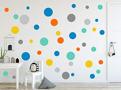 timalo® 120 Stück Wandtattoo Kinderzimmer Kreise Pastell Wandsticker – Aufkleber Punkte | 73078-120-SET24