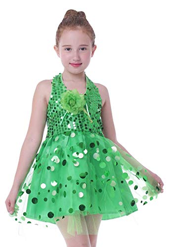 Seawhisper Feekostüm Mädchens Kleid Tinker-Bell-kostüm Tanzkleid Halloween Karneval Kostüme Grün 104 110