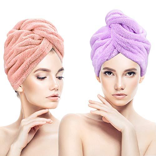 Pinsheng Toalla Pelo, 2 Piezas Toallas para Secar el Pelo, Toalla Turbante para el Pelo con Botón, Ultra Absorbente Toallas (Rosado+Púrpura)