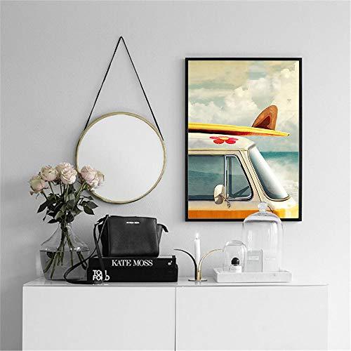 Moderne zeegezicht posters en prints gebruikt voor huisdecoratie Surf bus canvas schilderij HD afdrukken woonkamer muurschildering 60x80cm (frameloze)