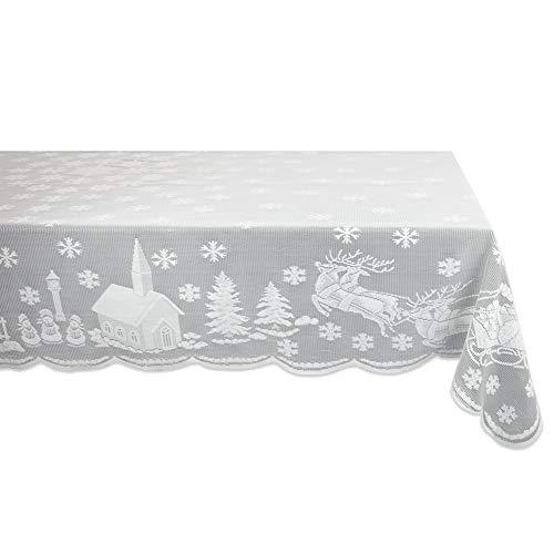 Byilx Weihnachtstischdecke Weihnachtsmann Schneemann Elch bestickt Weihnachten Party Spitze Tischdecke rund / eckig, Polyester, 152cmx213cm